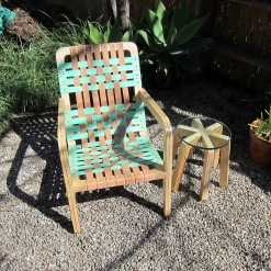 Palapa Lounger Chair with Natural and Mint Green Leather weave!! Gods Eye glass top side table!!!