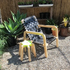 Palapa Lounger Chair with Black leather weave and Gods Eye stoolwith florecent yellow Macrame!